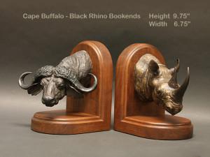 Rhino Cape Buffalo Bookends
